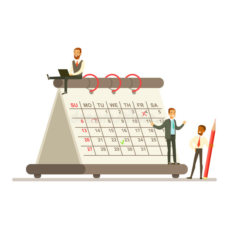 Micro young businessmen working next to a giant paper calendar vector illustration