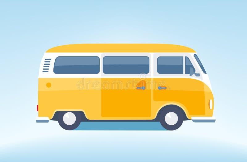 Microbús amarillo del vintage libre illustration