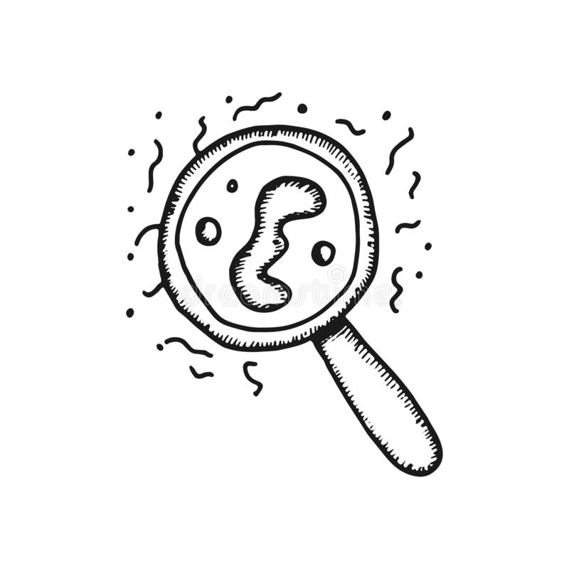 Microbes and bacteria under a magnifying glass vector icon. sketch royalty free illustration