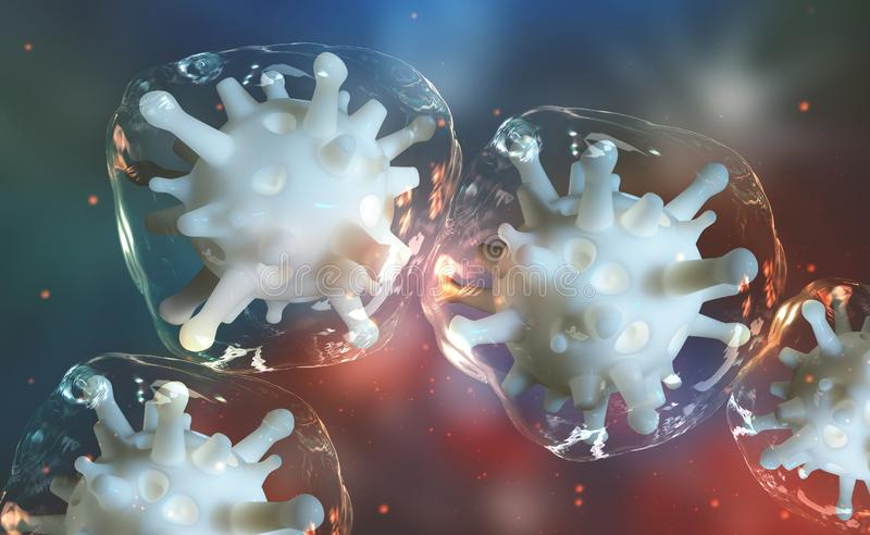Microbial colony. Virus in living cells. Reproduction of microorganisms, germs and viruses. Immunity of a person. Viral infection attacks the human body. 3D royalty free illustration