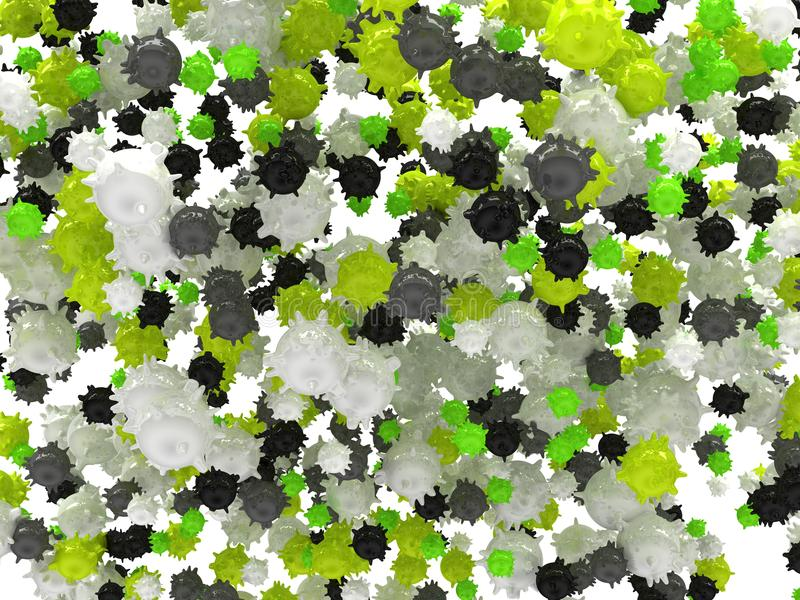 Microbiología: Extensión de virus y de bacterias libre illustration