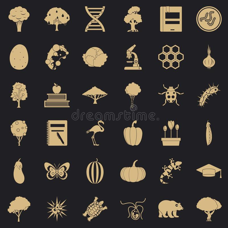 Microbiological icons set, simple style. Microbiological icons set. Simple set of 36 microbiological vector icons for web for any design royalty free illustration