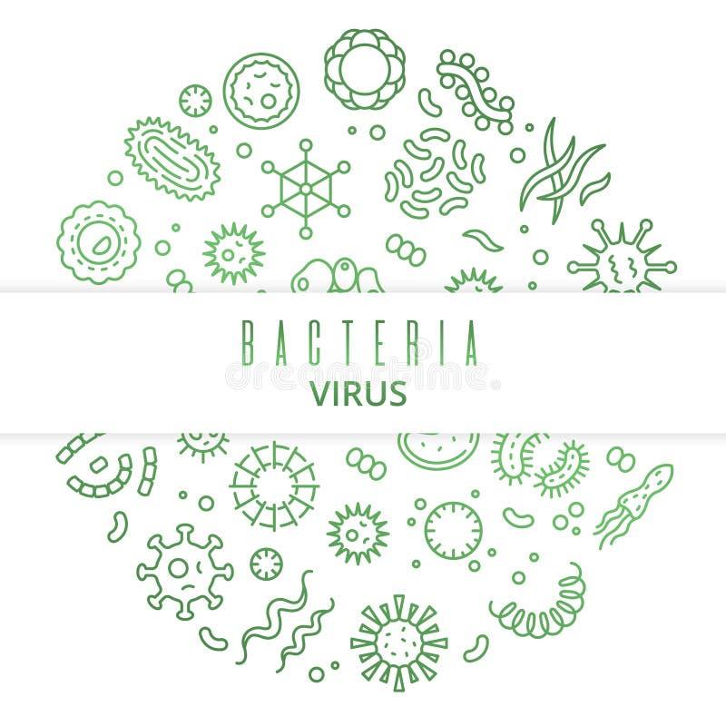 Microbios del vector del esquema, virus, bacterias, células del microorganismo y concepto primitivo del organismo stock de ilustración