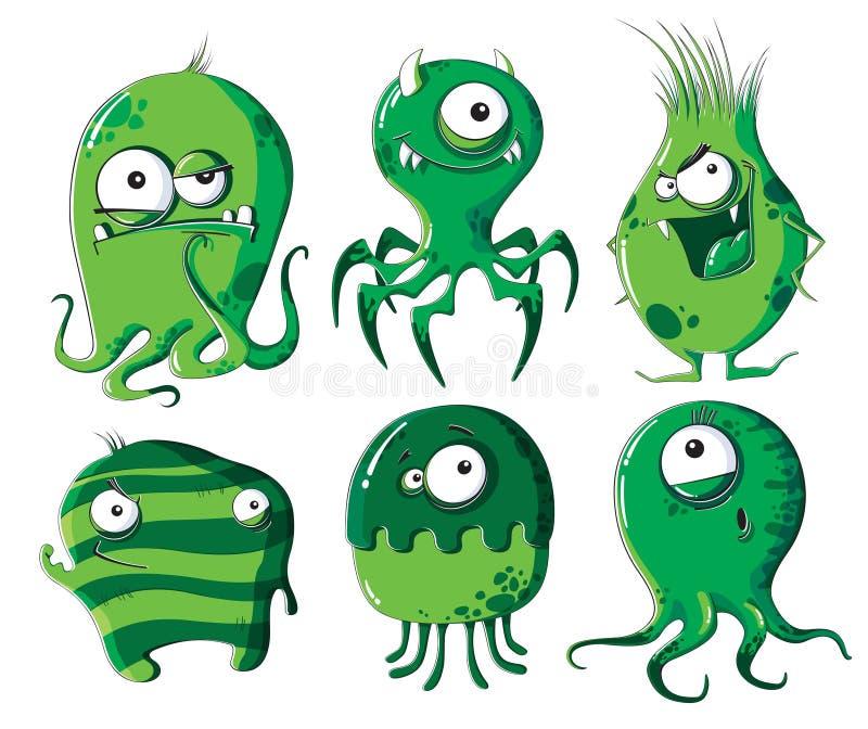 Microbios y bacterias de la historieta ilustración del vector