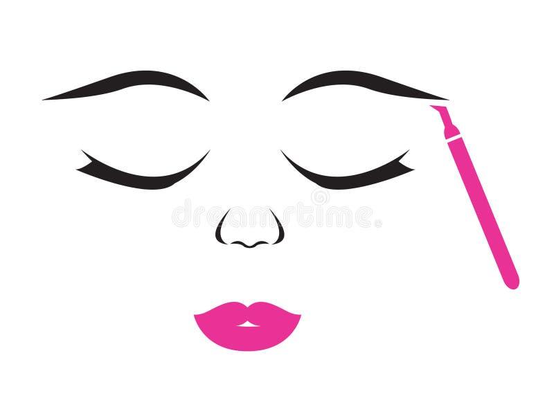 Microblading affronta della donna illustrazione di stock