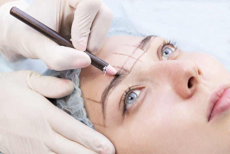 Microblading-Augenbrauenarbeitsfluß lizenzfreies stockfoto