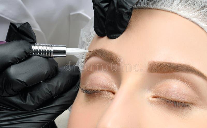 Microblading Cosmetologist que faz a composição permanente Mulher atrativa que obtém as sobrancelhas faciais do cuidado e da tatu fotos de stock royalty free