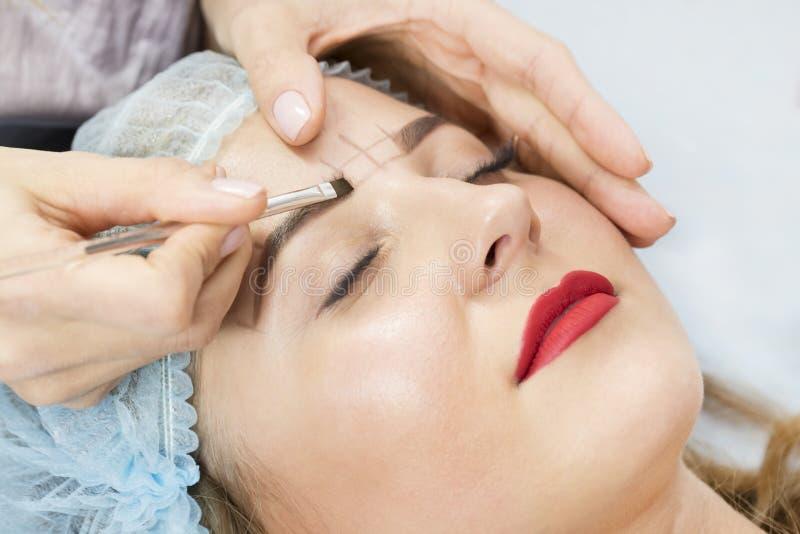 Microblading eyebrows workflow stock photography