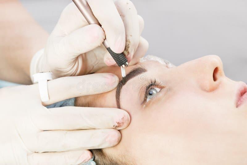 Microblading eyebrows workflow royalty free stock photos