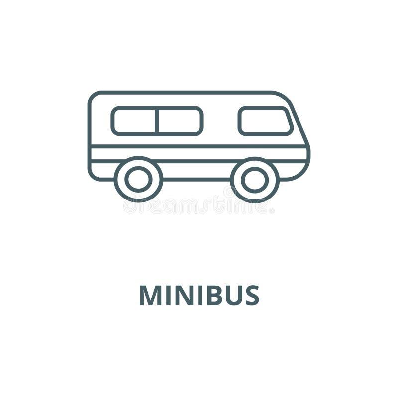 Microbus, linea icona, concetto lineare, segno del profilo, simbolo di vettore del minibus illustrazione di stock