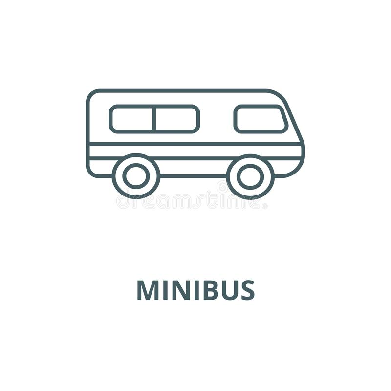 Microbus minibussvektorlinje symbol, linjärt begrepp, översiktstecken, symbol stock illustrationer