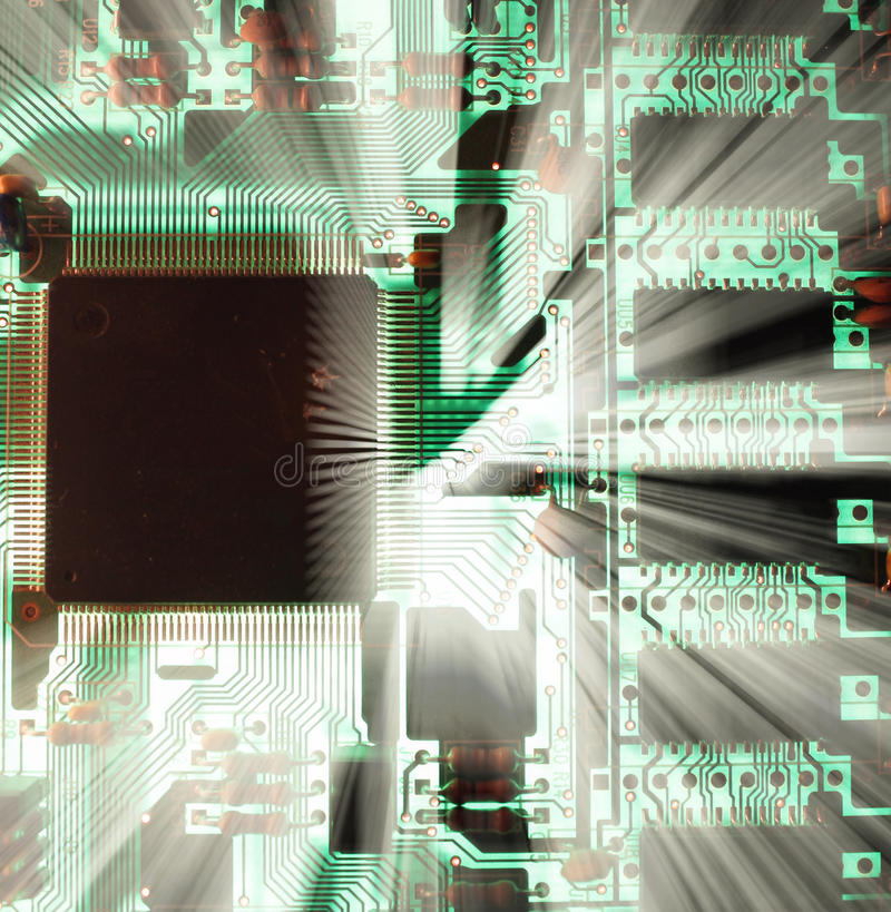 Microchip. A microchip in a computer stock images