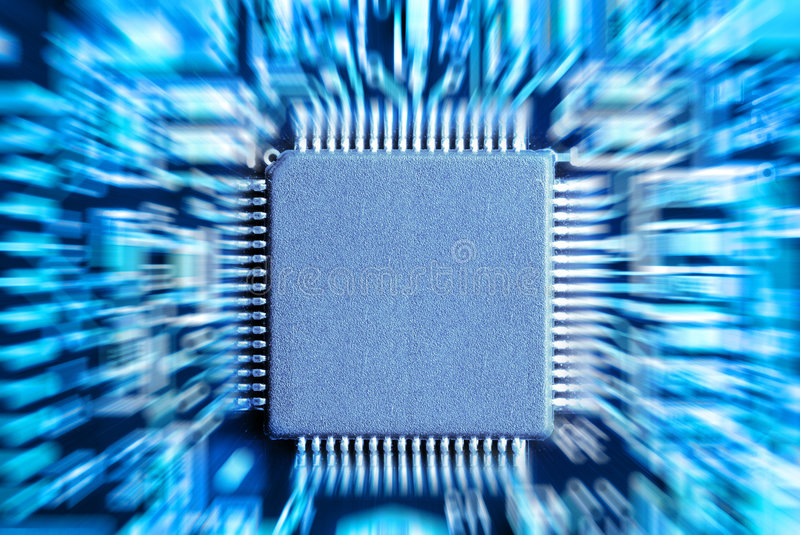 Microchip. Computer part with copy space stock photography