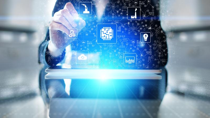Microchip, artificial intelligence, automation and internet of things, IOT, Digital integration. Business internet and technology concept stock images