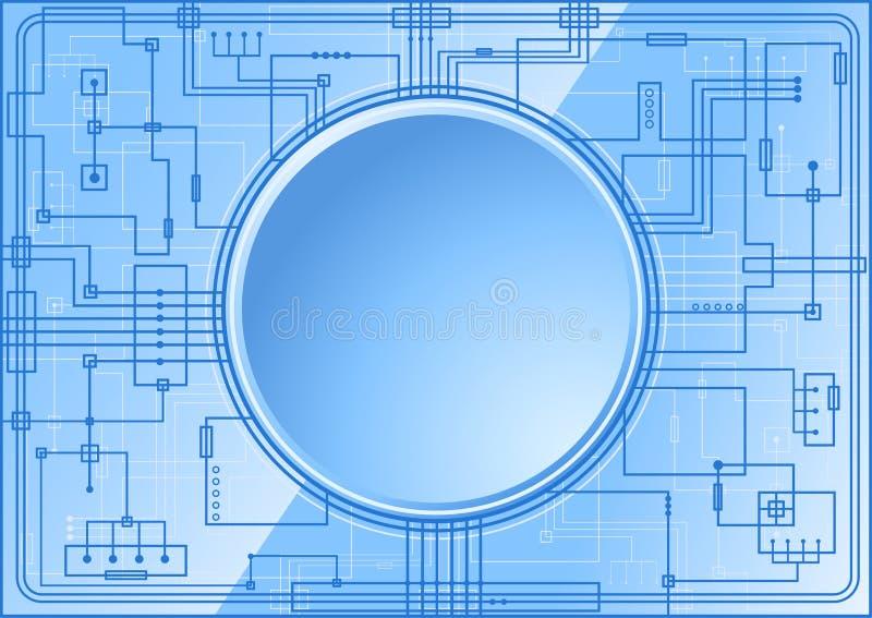 Microchip azul ilustración del vector