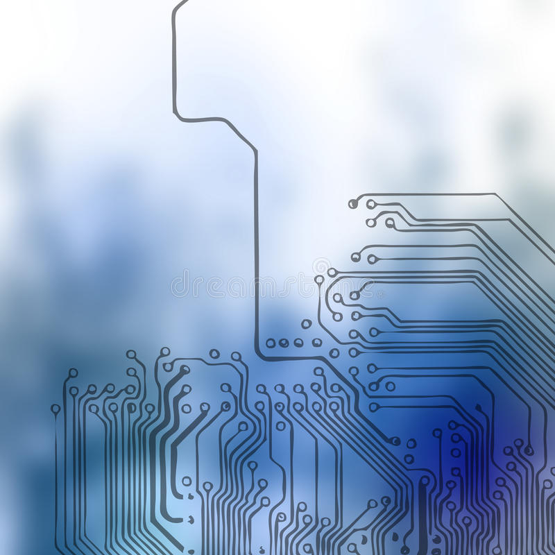 Microchip background - close-up of electronic circuit board. With processor royalty free illustration