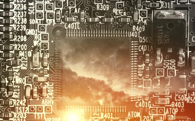 Microchip background - close-up of electronic circuit board stock images