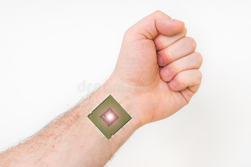Microchip Bionico Dentro Do Corpo Humano Conceito Da Cibernetica Foto De Stock Imagem De Corpo Humano 89788030