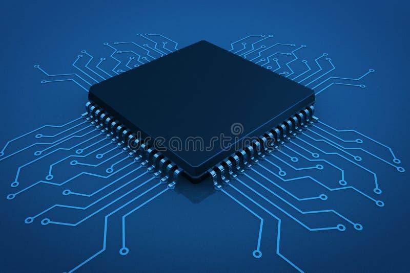 Microchip on circuit board. In blue key vector illustration