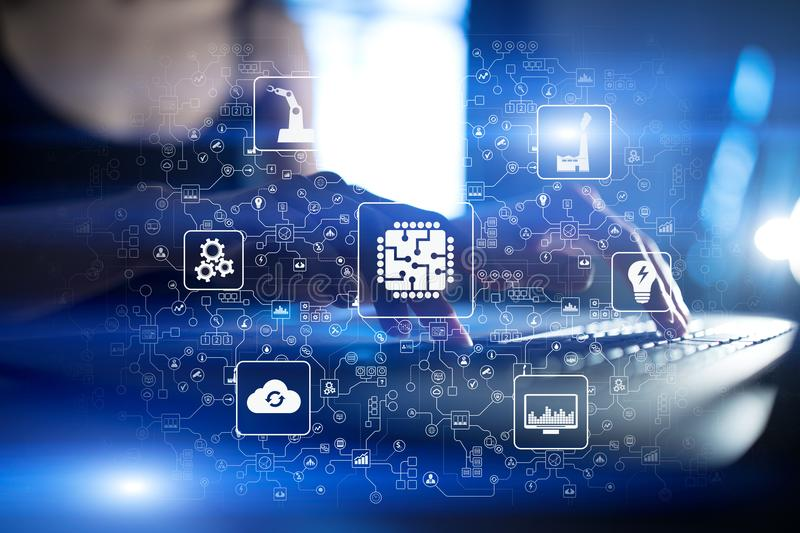Microchip, cpu, Bewerker, Microschakeling Gegevensverwerkingstechniek Modernisering en Bedrijfsautomatisering De slimme industrie royalty-vrije stock afbeeldingen