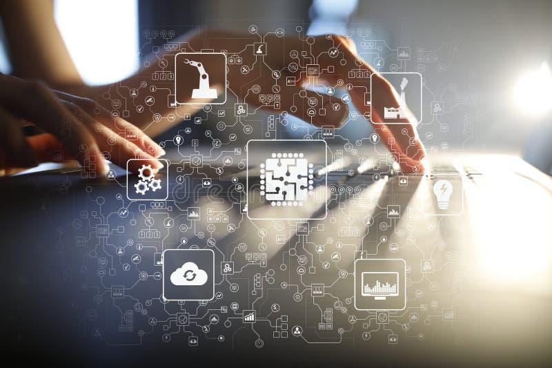 Microchip, CPU, procesador, ingeniería computacional del microcircuito Automatización de la modernización y de negocio Internet foto de archivo libre de regalías