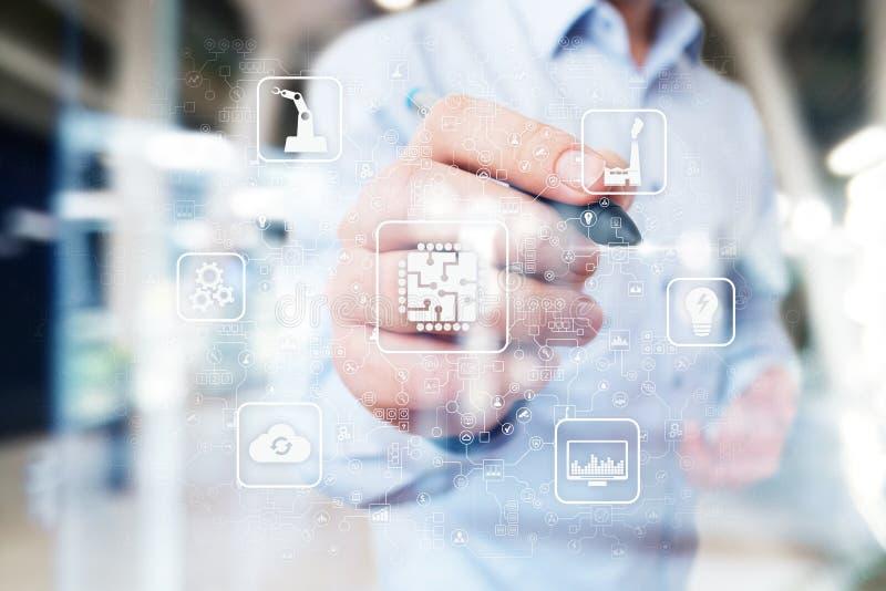 Microchip, CPU, unità di elaborazione, ingegneria di calcolo del microcircuito concetto di tecnologia e di industriale Industria  immagini stock
