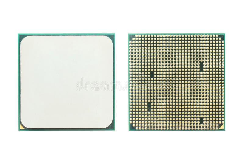 Microchip, CPU y x28; unit& de proceso central x29; aislado en blanco imagen de archivo