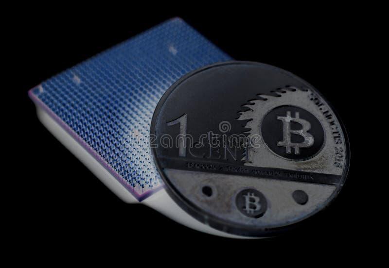 Microchip do processador central da unidade do processador central com Bitcoin ilustração royalty free
