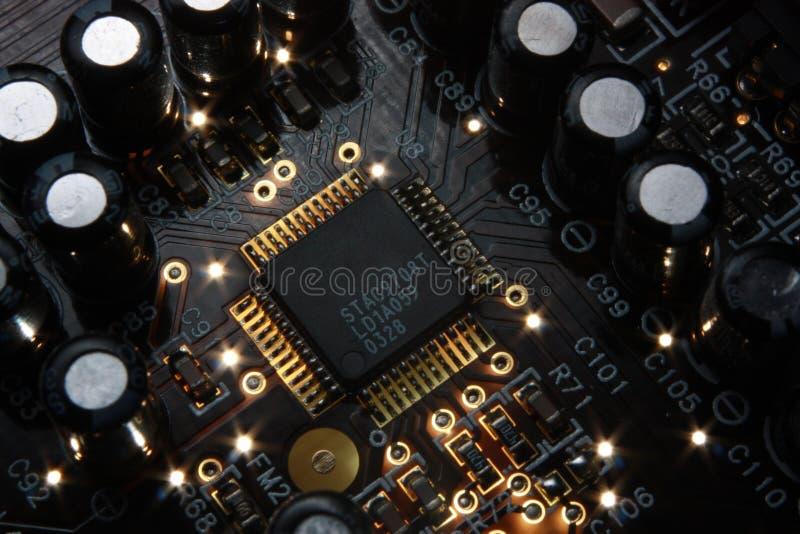Microchip eletrônico imagem de stock
