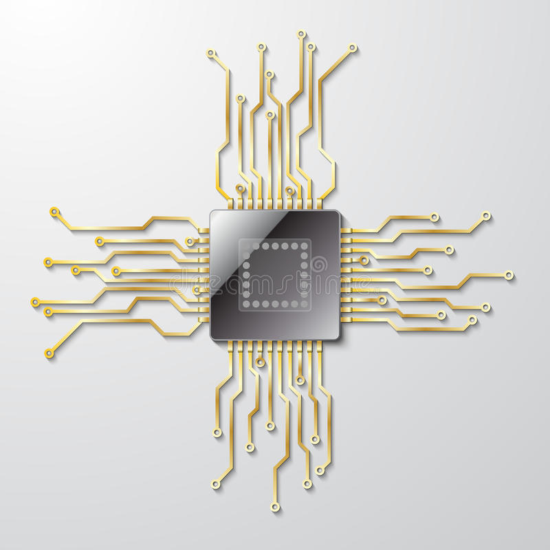 Microchip on a gray background royalty free stock photo