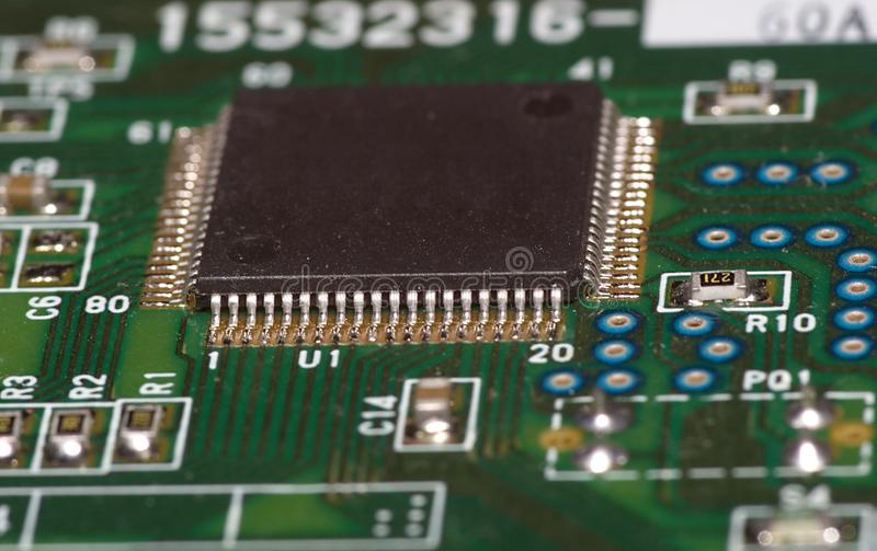 Microchip on green board royalty free stock image