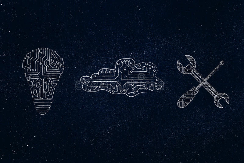 Microchip idea, digital cloud and wrench with screwdriver royalty free illustration