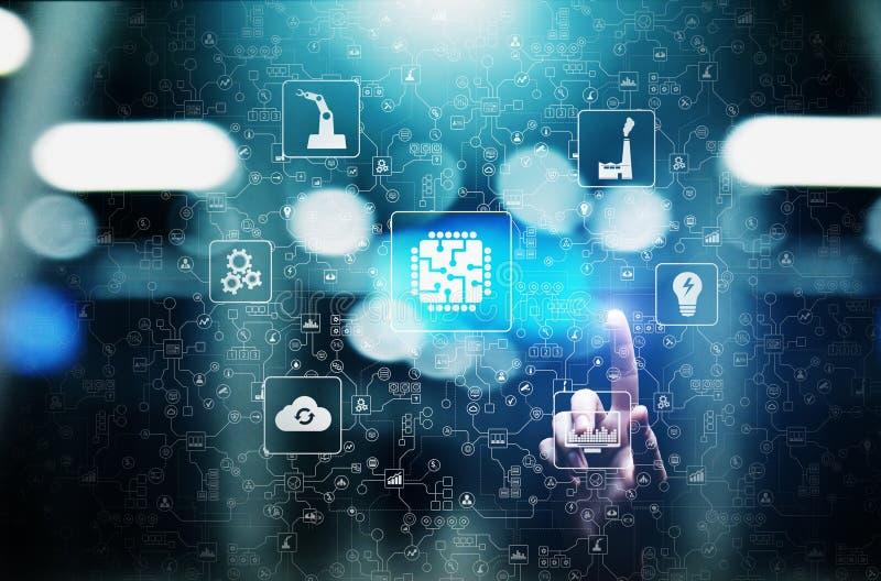 Microchip, intelligenza artificiale, automazione e Internet delle cose IOT, integrazione di Digital Concetto di tecnologia illustrazione vettoriale
