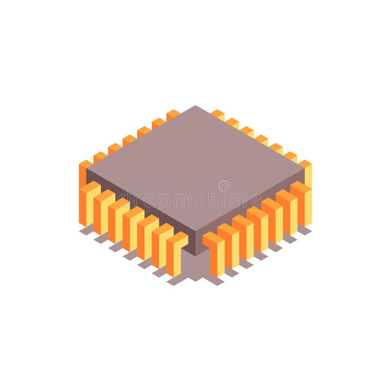 Microchip isometric icon. Central processing unit. royalty free illustration