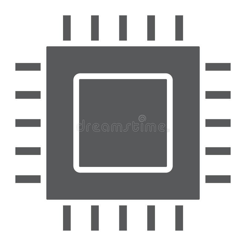 Microchip, kern glyph pictogram, elektronisch en digitaal stock illustratie