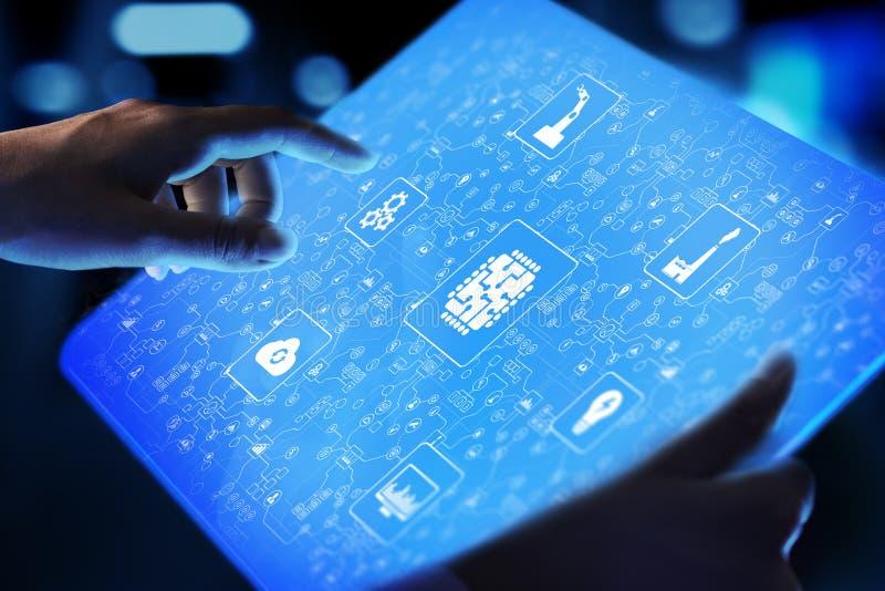 Microchip, kunstmatige intelligentie, automatisering en Internet van dingen IOT, Digitale integratie royalty-vrije stock foto's