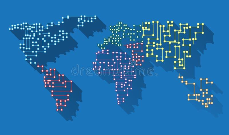 Microchip largo de la sombra del mapa del mundo imagen de archivo