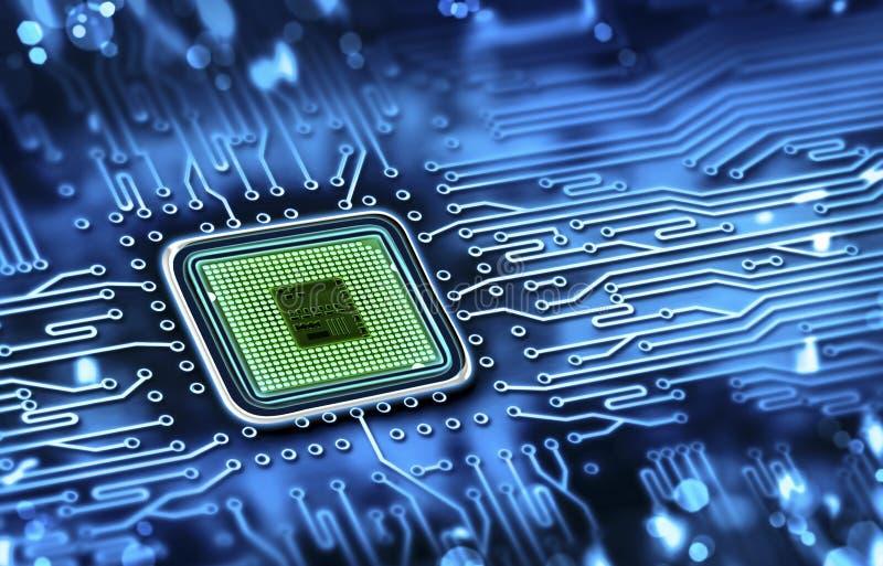 microchip op motherboard wordt geïntegreerd die stock fotografie