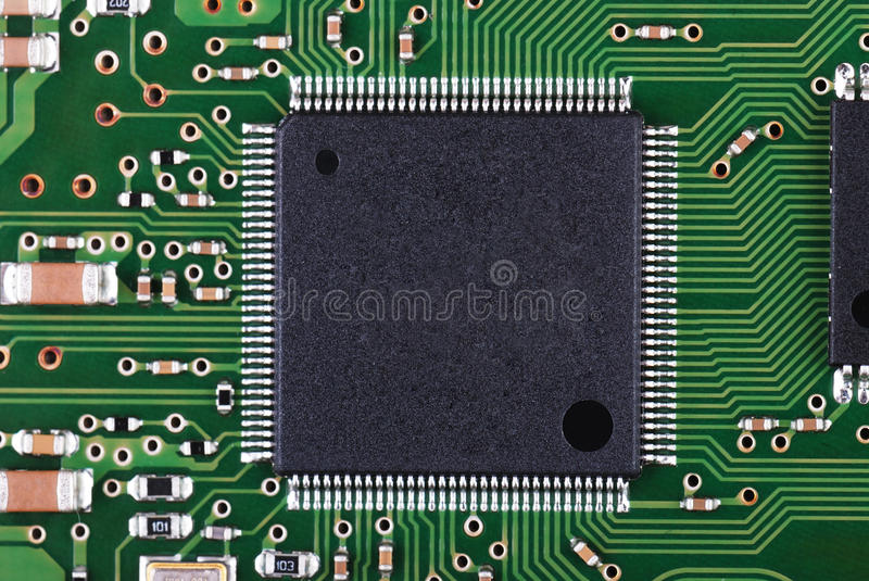 Microchip And Pcb Macro Royalty Free Stock Photo