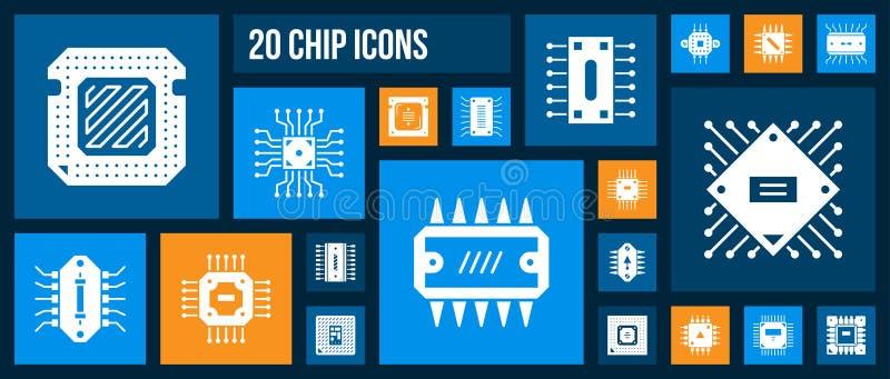 Micro chip cpu pc processor white icon vector set stock illustration
