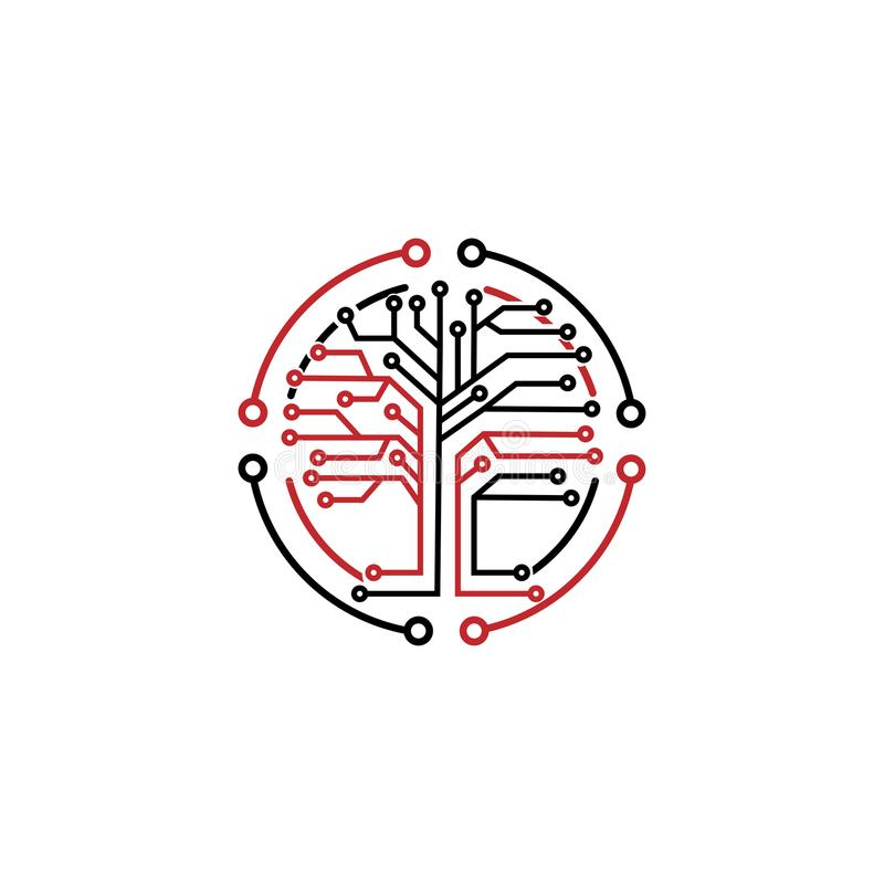 Microchip tree Logo. Digital Tree, technology, nature, wireless, internet, network, technologies, vector logo template. Logo of in stock illustration