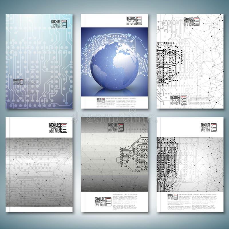 Microchipachtergronden, elektronische kringen, vector illustratie