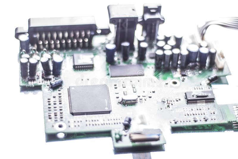 Microcircuit , computer board, processor on a white background royalty free stock image