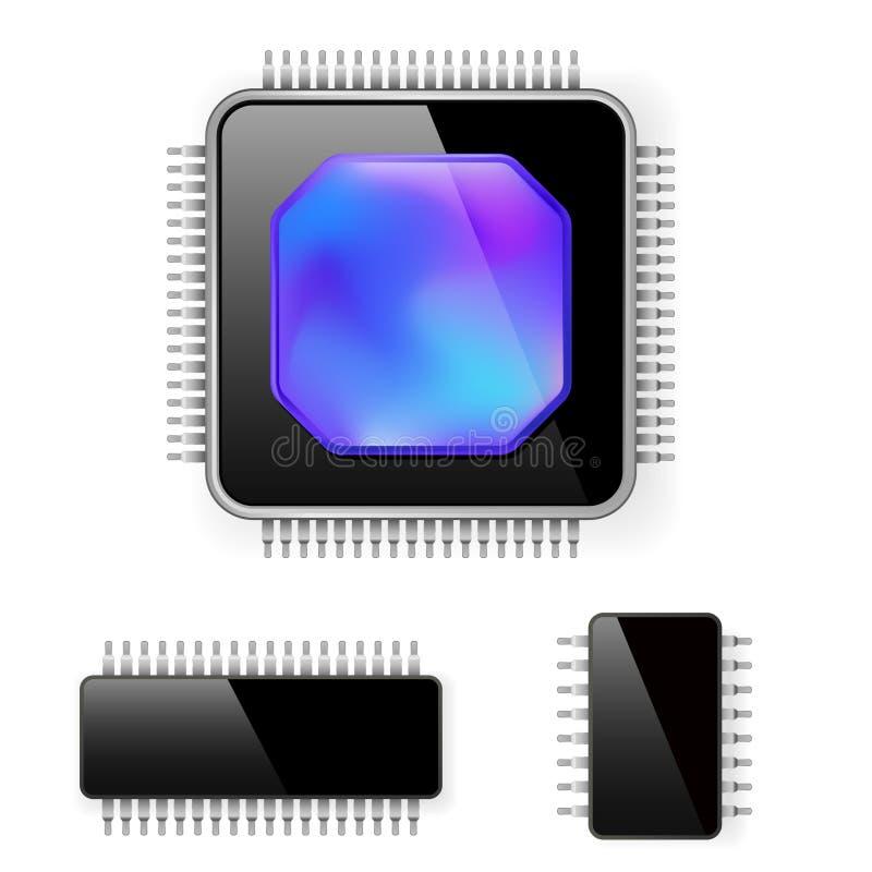 Microcircuito del ordenador stock de ilustración