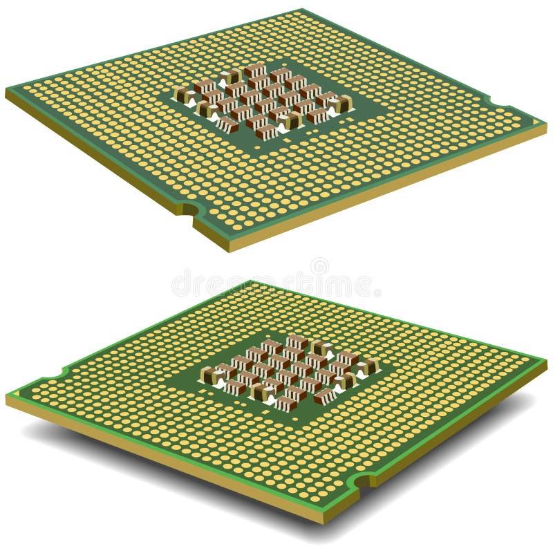 Microcircuito del procesador del ordenador aislado en a stock de ilustración