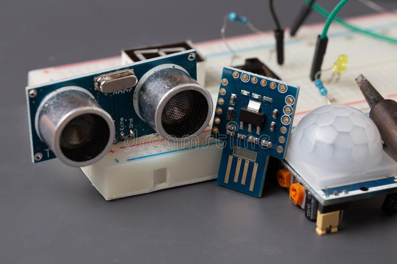 Microcontroller with two sensors on breadboard for prototyping royalty free stock image