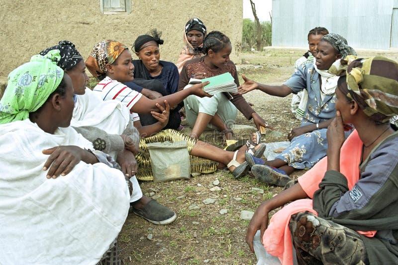 Microcredit project Ethiopian women. Ethiopia, village Koka: micro-credit project of Oromo women, largest Ethiopian ethnic group, savings or loan association stock images