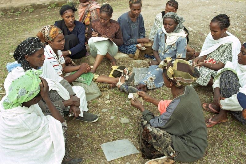 Microcredit project Ethiopian women. Ethiopia, village Koka: micro-credit project of Oromo women, largest Ethiopian ethnic group, savings or loan association stock image
