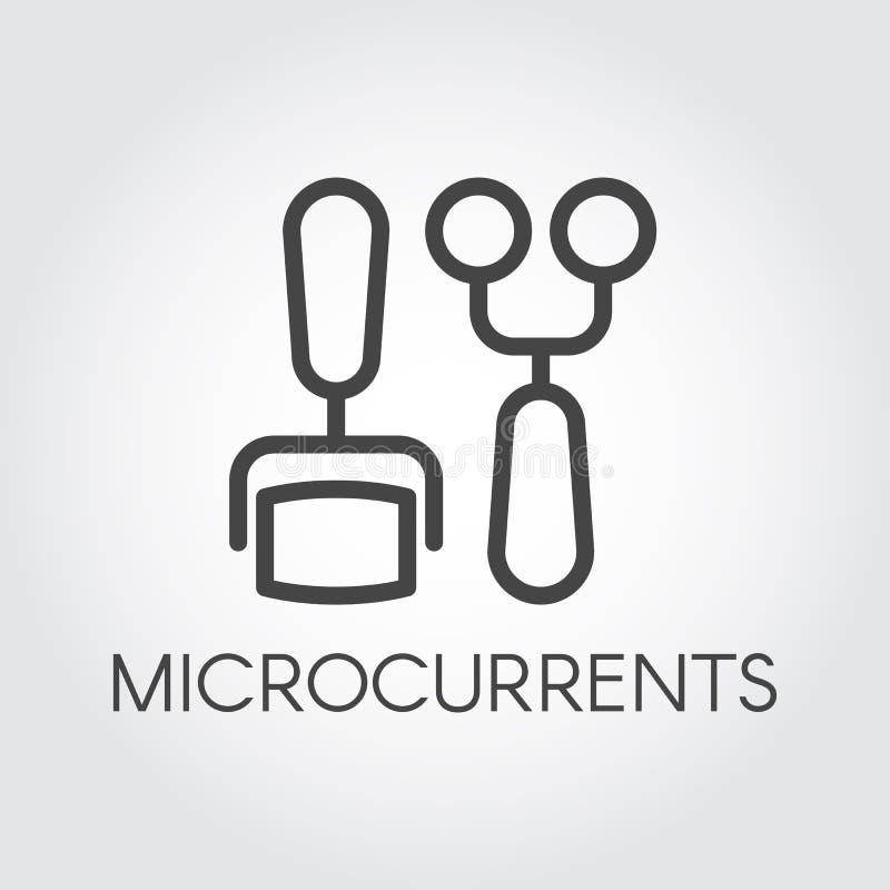 Microcurrent begreppslinje symbol Skönhet- och cosmetologybehandling Korrigering föryngring som anti--åldras tillvägagångssätt stock illustrationer