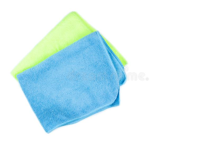 Microfiber cleaning cloth of blue and green on isolated white royalty free stock photography
